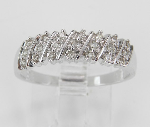 Diamond Wedding Band Anniversary Ring Size 7 Round Stackable White Gold