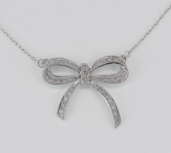"White Gold Diamond BOW TIE Necklace Chain 18"" Unique Wedding Gift Pendant"