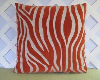 Orange Zebra Pillow Cover / Zebra Pillow / Orange Beige Pillow / Velvet Pillow / Animal Print Pillow / Orange Pillow / Accent Pillow