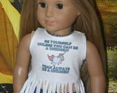 Always be a unicorn tshirt handmade to fit your 18 inch play scale doll such as american girl