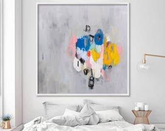 ABSTRACT painting Giclee print Large wall art canvas painting Fine Art Print Grey and Yellow Wall Art
