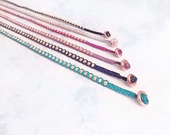 MAX. rose gold bead nuggets layering wrap bracelet. dainty friendship bracelet.
