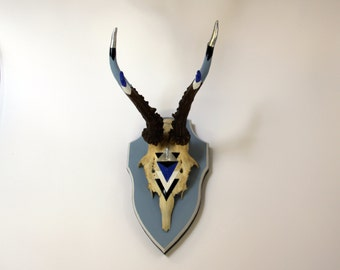 BLUE & SILVER ANTLERS bright modern geometric aztec arrow chevron painted deer skull modern taxidermy stag wall art decor gift pagan goth