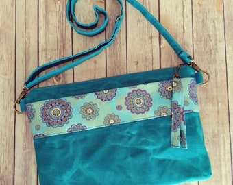 Custom laptop bag, waxed canvas laptop bag, Teal laptop bag, custom laptop bag, made to order laptop bag, teal and purple electronics bag
