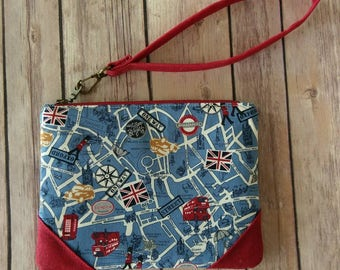 London Map Wristlet|Clutch Bag|Red Waxed Canvas Clutch|British Fabric|Clutch Purse|Wristlet|Evening Purse|Handbag|Anglophile gift