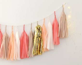 Tissue paper Tassel Garland Banner - coral, gold and neutral   fully assembled / Party Decor, Party, Wedding decor / paper fringe garland