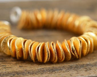 8mm Gold Pringles - Gold Plated Copper - Metal Wavy Round Discs - 4 Inch Strand
