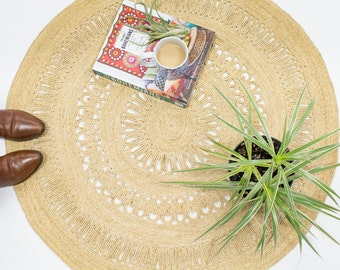 Straw Sunshine Rug Hand Woven 3 ft x 3ft Circle, Boho Beach Decor
