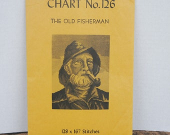 Vintage Petit Point Needlework Project Chart The Old Fisherman