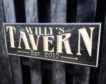 Bar Tavern Pub sign - Man cave Sign - Beer gift for him - Groomsman gift