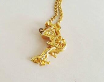 Vintage Hansom Cab Pendant Necklace
