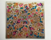 Rare Vintage 80's CARDESIGN TEENIE WEENIES Stickers ~ Metallic Exercise Teddy Bears