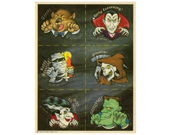 Vintage 80's HALLMARK Stickers Sheet ~ HALLOWEEN MONSTERS Werewolf Vampire Mummy