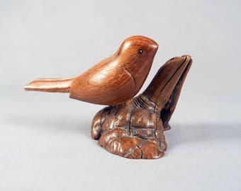 Vintage hand carved wood bird on burl branch, signed