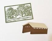 Handmade, Trees in Frame, Covered Bridge, Very Cute, Sizzix, Brown, Light Brown, Green, Cards, Scrapbooking, Die Cuts