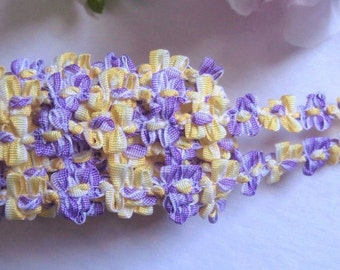 French Rococo Ombre Ribbon, 7/16 inch White - Purple - Canary selling by the yard