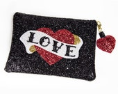 Custom Glitter Rockabilly Retro Heart Clutch Bag