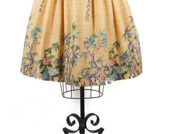 1950s Skirt // Chinoiserie Oriental Novelty Border Print Cotton Pleated Skirt