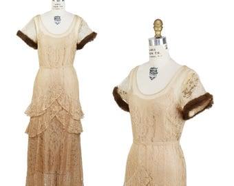 1930s Dress // Fur and Cream Lace Ruffle Art Deco Full Length Dress