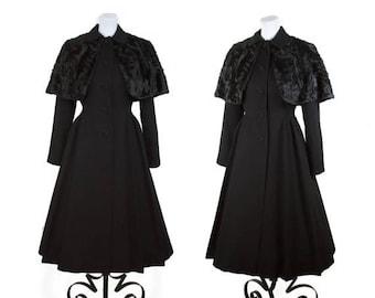 WEEKEND SALE 1940s Coat // Black Persian Lamb Gothic Princess Coat with Cape