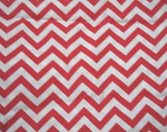 Red and White Chevron - by the yard