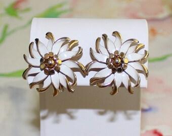 Vintage, White Enamel Flower Earrings