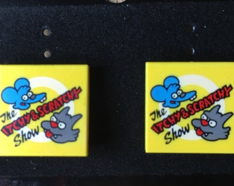 Itchy and Scratchy Show Lego Earrings