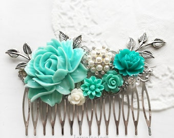 Turquoise Wedding Comb, Silver Leaves, Personalised Hair Comb. Rhinestone, Aqua, White, Seafoam, Bridal Hair Slide, Hair Clip, Gift