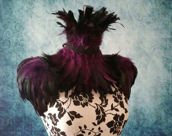 Purple and black ice queen feather set