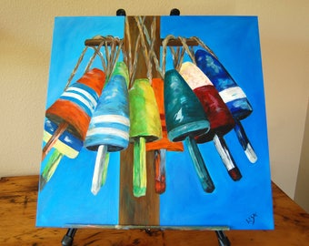 Original Fishing Bouy Acrylic Painting Large Fishing Bobbers Fishing Floats Acrylic Painting Nautical Painting from The Eclectic Interior