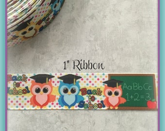 "Cute Back to School Owls 1"" Grosgrain ribbon"