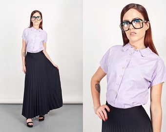 50s Lilac Blouse Vintage Peter Pan Collar Purple Trimmed Blouse