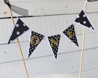 First Birthday Cake Topper - ONE Cake Bunting - Black, White, Gold Glitter, Polka Dots, Spots