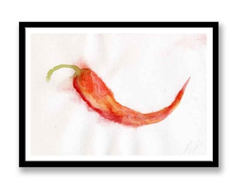 Single Red Chili // Original Watercolor painting // Original Fine Art Painting //  food // Fruit // Still life // Watercolour painting