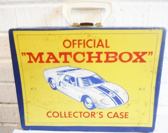 1966 Matchbox car storage case Lesney collector collection yellow blue retro toy