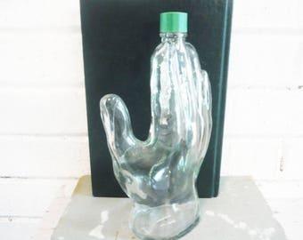 Hand shaped bottle ,glass hand , after shave bottle, glass hand bottle, mans hand, unusual bottles, collectible bottle, novelty bottle
