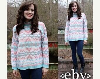 Vintage 90s Pastel Southwestern Sweater Jumper S M Southwestern Jumper Southwest Sweater Southwest Jumper Oversized Knit Oversized Sweater