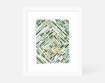 Large Abstract Artwork / Modern Abstract Wall Art Green / Vertical Art Print / Framed and Matted / 18x24 16x20 11x14 8x10 5x7
