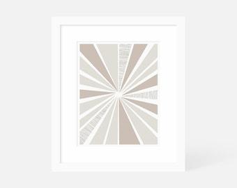Mid Century Modern Art Large / Neutral Modern Art / Sunburst Art Print / Matted and Framed / 18x24 16x20 11x14 8x10 5x7