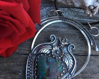 Chrysocolla and Sterling Silver floral and bee pendant~ turquoise jewelry  ~ art nouveau jewelry bee jewelry boho bee necklace ~feather
