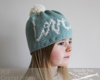 Crochet Pattern: The Agape Beanie 3 sizes Toddler, Child, Adult hand lettering love valentines day toque hat