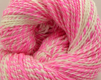 HSY Think Pink - 206 yards of Unique hand spun two ply alpaca and merino custom yarn