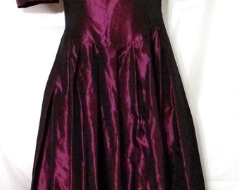 """BIG HOLIDAY SALE Darling 80s Vintage Purple Satin Holiday Party Dress-Laura Ashley-Size 0-xS-32"""" Bust-Romantic-Evening-England-Tea Length-Fi"""