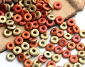 30%OFF SALE Spacer O beads, czech glass - Gold and Copper, matte - 4x2mm, round, spacers - 5gr - 0374