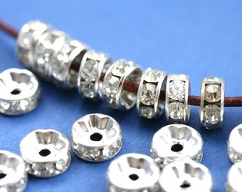 7mm Silver Rhinestone Rondelle Spacer Beads, Crystal Clear rondels, Nickel Free, Grade A, Straight Flange - 20pc - 0588