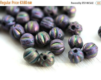 ON SALE 4mm Melon beads, Iris Purple spacers, blue czech glass beads, round - 40pc - 1973
