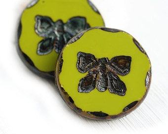 2pc Butterfly Focal beads, 26mm Extra large beads - Olive green with Picasso finish, czech glass, table cut, butterflies - 1773
