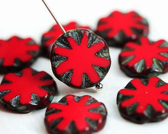 14mm Red round flat beads, Coin shape czech glass Picasso beads - 8Pc - 2929