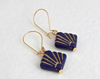 Blue Art Deco Earrings .. navy blue, blue and gold earrings, fan, simple earrings
