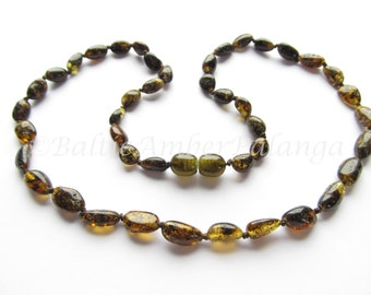 Baltic Amber Necklace Green Color Olive Form Beads. For Adults